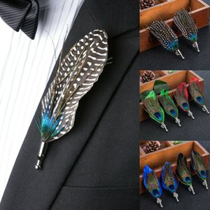 5 Colors 8.8x3.8cm Mens Chic Handmade Peacock Pheasant Feather Hat Lapel Pin Brooch Accessories Wedding Lapel Pin for Men Suit Jewelry