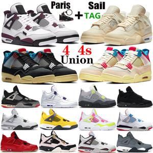 Новое поступление высочайшее качество белый х парусных мужчин Men jumpman 4 4S баскетбольная обувь Union Unity Nior Paris кроссовки металлические фиолетовые мужские тренажеры