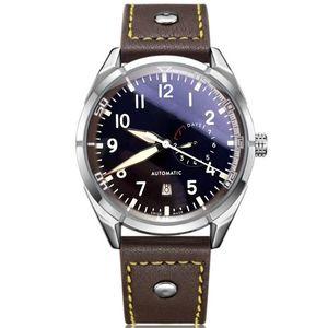 최고 품질의 럭셔리 손목 시계 큰 파일럿 자정 블루 다이얼 자동 남자 시계 46mm 망 시계 시계 크리스마스 선물
