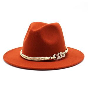 فيدورا القبعات النساء واسعة بريم بسيط بنما أعلى قبعة عارضة بلون الصوف الاصطناعي مزيج رسمي شعر الجاز