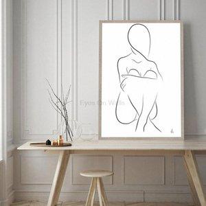 Arte minimalista Sentado Un dibujo lineal de la silueta del cartel de la lona de pintura Negro abstracto en blanco para impresión de fotografía moderna decoración del hogar # qKMb