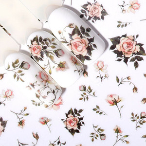 3D Nail Stickers Self-Adhesive Rose Flowers Pattern Nail Art Decals Decorations
