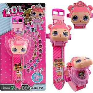 Cute cartoon doll watch 24 pattern projection flip electronic watch children wear toy table lol Kids toys