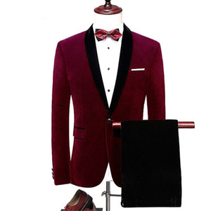 Red Velvet Wedding Men Suits 2- Piece Solid Formal Men Suit Peak Lapel Groom Wedding One Button Handsome Suits For Men