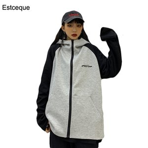 Harajuke per Felpa Patchwork Pullover femminile di donne con cappuccio Felpe con cappuccio Zip Up