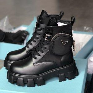 New Mulheres Stylist Rois ankle boots Nylon bolso Preto Botas Martin inverno de espessura de sola sapatos resistentes ao desgaste sapatos de borracha de alta Top Plataforma