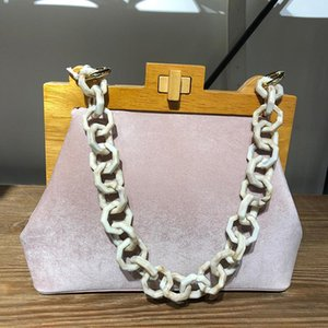 Women's Box Bag Ice Cream Bucket Bag Wooden Clip Evening Ice Acrylic Chain Luxury Handbag Banquet Party Purse Shoulder