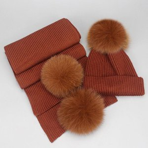 hair ball parent-child hat scarf suit winter hat women cap scarf together solid color fashion warm hats woman and children