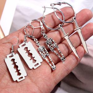 Flatfoosie 3Pair Set Fashion Punk Skeleton Blade Drop Earrings Sliver Color Retro Small Dangle Earrings Sets Statement Jewelry