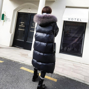 Loose Warm Korean Winter Women Puffer Long Down Coat With Real Fur Hood Female Feather Jacket For Girls Coats Outerwear Ukraine1