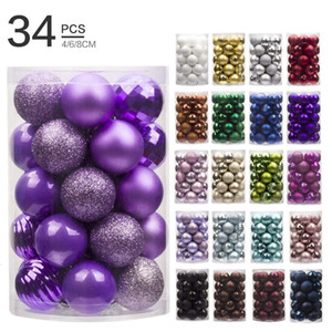 34pcs Christmas Tree Ball Sets 8cm 6cm 4cm Christmas Decorations Wedding Home Party Ornaments Xmas Hanging Bauble Decor Gifts 201128