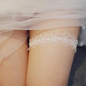 2021 Sexy Lace Flower Pearls Wedding Garter Belt Bridal Thigh Leg Garter Ring For Women Female Bride