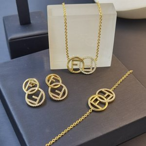 F letter necklace bracelet star the same round inlaid zircon earring earrings are versatile and simple