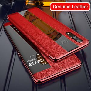 De lujo del caso del tirón del cuero genuino para Huawei Mate20 P20 P30 Pro Smart Touch cubierta del protector de casos de teléfono celular inteligente Vista 360 protector