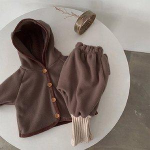 Dibeberabbit Baby-Kleidung Winter-2020 Neugeborene Baby-Kleidung gesetzte Jacke + Hosen 2pcs Kleinkind-Junge-Mantel dicke Fleece-Mädchen Insgesamt Y1113