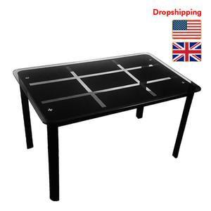 Stock en verre US UK Table à manger rectangulaire Trempé Accueil Meubles 120x70x75 cm pour le salon Noir Dropshipping