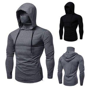 Mens Gym Mask Long Sweatshirt Mask Hoodies Large Sleeve Spli Casual Thin With Open-Forked Hooded Hoodie Hoodie Sweatshirt Tops Eqpqt