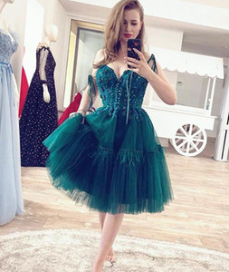 Newest 2021 Sweetehart Spaghetti Straps Homecoming Dresses Beaded Zipper Back Tulle Short Prom Dress Graduation Party Cocktail Gowns