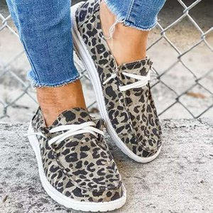 Frauen flache Größe Schuhe Schuhe Up Lace Wohnungen Komfortable Müßiggänger Sneakers Solide Mode Leopard Damen Cavas Casual Plus Sommer Pjwnr