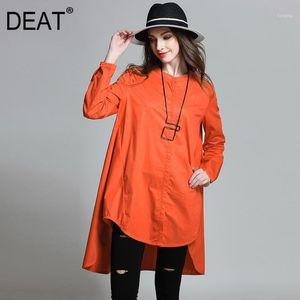 [DEAT] 2020 Large Size Blouse Women Full Sleeve Mandarin Collar Irregular Solid Over Size Wild Casual Autumn Fashion Tide AM8631