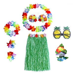 8pcs 60cm Flower Garland Hawaiian Skirt Set With Glasses Girl Costume Masquerade Photography Props Bracelets Headbands Necklaces1