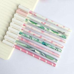 Гель Ручки 3x Kawaii Sakura Зеленые Листья Фламинго Перо Школьная Офис Поставка Студент Канцтовары Черные Чернила 0.5mm1