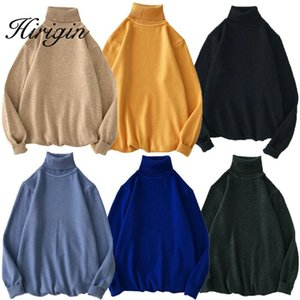 Hirigin Men's Winter Knitted Sweater Long Sleeve Candy Colors High Collars Roll Turtle Neck Soft Knitted Sweater Pullover Tops