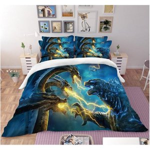 godzilla 3d bedding set duvet covers pillowcases comforter bedding sets gojira king of monsters bedclothes bed linen bed set ScIvD
