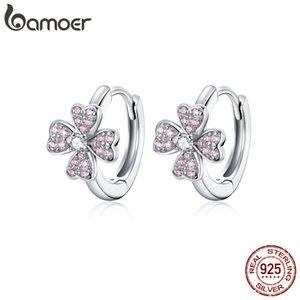 bamoer 925 Sterling Silver Dazzling Pink Flower Ear Hoops Earrings for Women Silver 925 Jewelry CZ Weddin Brincos LJ201013