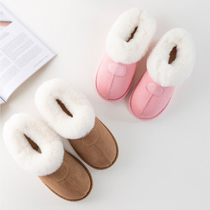 Casa de invierno piel de las mujeres zapatillas calientes felpa de algodón Ovejas Parejas zapatos planos de cubierta antideslizante invierno de los hombres peludos Slippes Mujer 201103