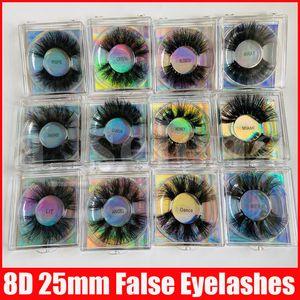 Fluffy Natural 8D 25mm Faux Mink False Eyelashes Synthetic Silk False Lash Soft Eye Lashes Extension Dramatic Long Fake Eyelash