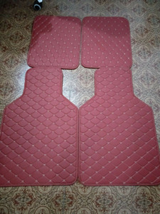 4pcs Wine Red PU Leather Universal Car Floor Mats Front Rear Liner Carpet