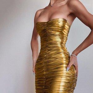 Abiti pieghettato senza spalline wrapped toract skinny designer Bodycon Abiti senza maniche Zipper Womens Sexy Club Dresses Gold Estate Womens Party