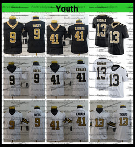 Youth Kids 13 Michael Thomas Football Jerseys 9 Drew Brees 41 Alvin Kamara 7 Taysom Hill Stitched Shirts Rush embroidery AC1