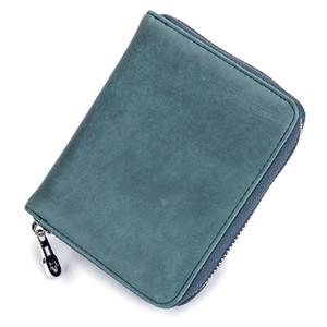 HBP-Männer Mode echtes Leder Multifunktionaler Passinhaber Frauen-Anti-Diebstahl-RFID-Kartenhalter mit Box 10.5 * 13 * 3cm