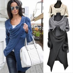 pullover Sweatshirts 2020 autumn winter new female knitted jacket solid color irregular long sleeve pullover Sexy Woman Tops 698