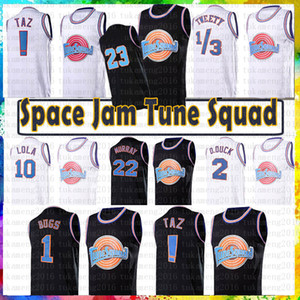 Youth Mens 23 1 Bugs Movie Space Jam Tune Squad Jersey 22 Bill Murray 10 Lola d.duck! TAZ 1/3 تويتي الفانيلة كرة السلة NCAA