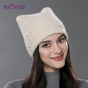 ENJOYFUR Winter Cotton Knitted Hats For Women New Parent-child Lovely Cat Ear Beanies Cute Casual Hats High Quality Gorros