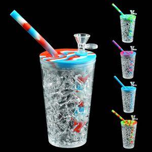 Sommer-Stil-Trinkbecher Wasserleitungen Silikon-DAB-Rig-Glas-Öl-Rigs-Kräuter-Bubbler-Glasschüssel Silikon-Bong-Mini-Rohr-Recycler-Haken 157mm * 68m