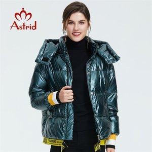 Astrid Winter Neue Ankunft Daunenjacke Frauen Blaue Farbe Wintermantel mit einem Kapuze Kurze Jacke für Winter mit Reißverschluss ZR-3032 201029