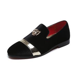 Moda Gold Top e Metal Toe Homens Vestido de Veludo Sapatos Italian Mens Dress Sapatos Handmade Moafers Plus Size 48
