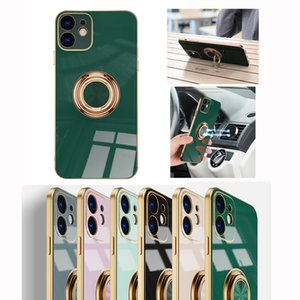 Electroplating 6D Precision hole camera protective case for iphone 12 11 pro max xr xs iphone 7 8 Plus magnetic Finger Ring kickstand case