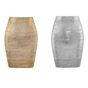 Mulheres Summer Fashion Sexy ouro Bronzing Bandage saia Designer Night Club bodycon Pencil Skirt Faldas 46 centímetros