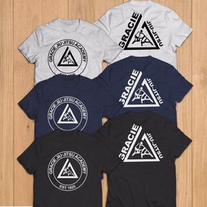 Em linha reta de manga curta camiseta Logo Homme Camiseta Homens engraçado Gracie Jiu Jitsu Academy Champ T militares Camisas esporte moletom com capuz Hoodie