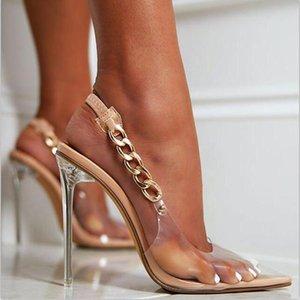 Sandalet Kadınlar Şeffaf Slaytlar Geri Kayış Zincir Metal Temizle Kristal Ince Yüksek Topuklu Pompalar Parti Elbise Ayakkabı Kadın Bırak Gemi