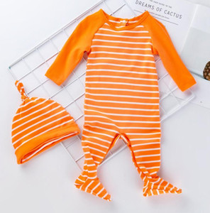 Baby Boy Girl Christmas Clothes Long Sleeve Cotton Sleepsuit Home Romper Jumpsuit Striped Rompers Boys Girls Hat + jumpsuit