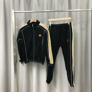 2020 fashion designer clothing mens tracksuit paris embroidery logo velvet jacket outwear sweatshirt suit patchwork sportwear pants
