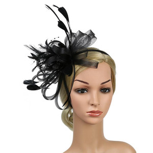 Hair Accessory Gift Day Feather Mesh Fascinator Headband Fedoras Bridal Banquet Party Hat Bowknot Women Cocktail