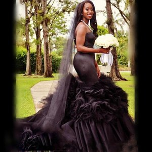 Sexy 2020 Gothic African Black Girl Wedding Dresses Bridal Gowns Strapless Mermaid Bridal Gowns Tulle Ruffles Wedding Vestidos