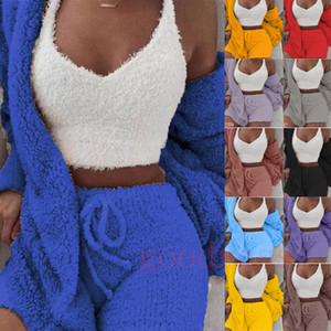 Automne femmes d'hiver 3 pyjamas pièce ensembles peluche chaud manches longues veste Cardigan veste vêtements vêtements de nuit ainsi que la taille de costume de homewear Shorts